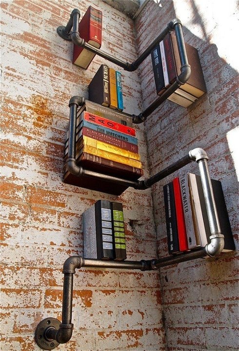 ... interesting use of space & old piping..: Pipes Bookshelf, Pipes Shelves, Books Shelves, Book Shelves, House, Bookca, Bookshelf Ideas, Design, Creative Bookshelves