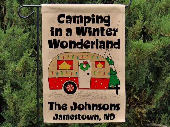Christimas Campsite Sign Camping in a Winter by HappyCamperWorld
