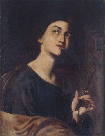 Attributed to Bernardo Cavallino (Italian, 1616–1656), A female saint, Oil on canvas, 63.5 x 49.5 cm. (25 x 19.5 in.)