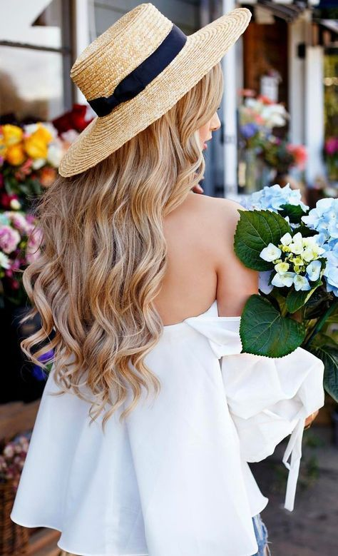 #summer #outfits Round Hat + White Off The Shoulder Blouse