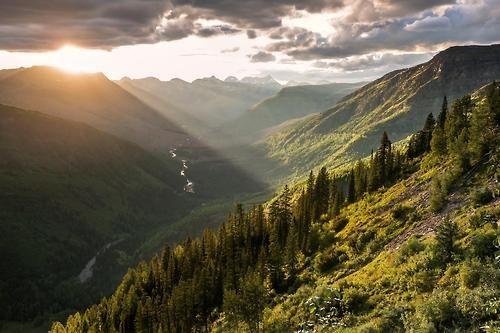 Amazing sunset over Glacier National Park