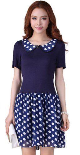 Amazon.co.jp: (アンフィニ) infini ドット切替フリルワンピース ブラック ブルー LL 3L 4L 5L 大きいサイズ: 服&ファッション小物通販