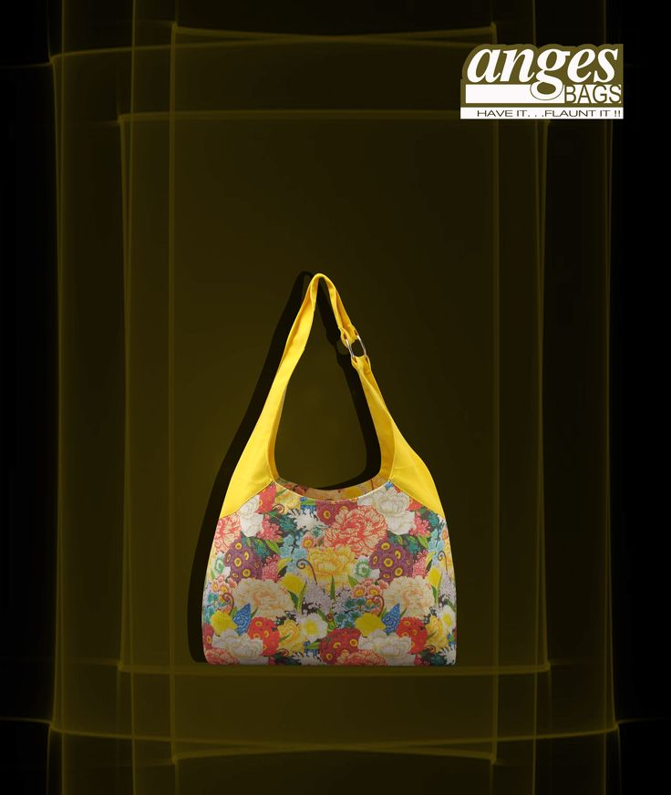 Canary yellow floral tote is a great way to beat the summer heat.