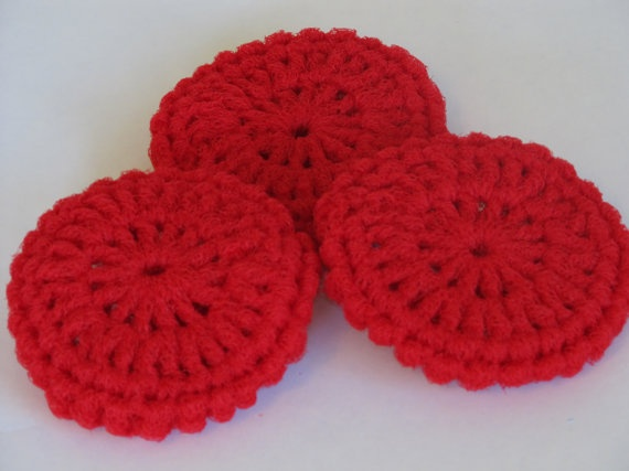 Dish Network Knitting : Kitchen dish scrubbies made of nylon net in royal blue and