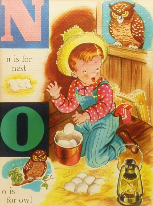 Vintage alphabet poster 1940s childrens print baby Vintage childrens room decor