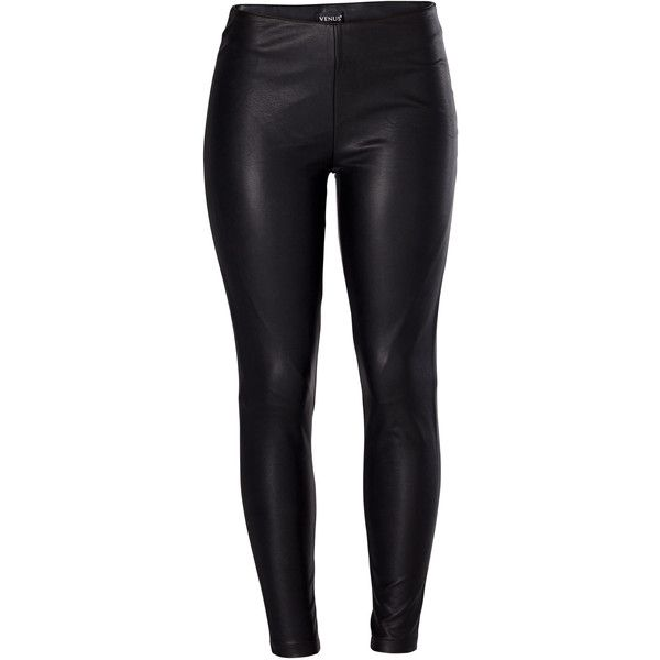 Venus Women's Faux Leather Leggings (£30) ❤ liked on Polyvore featuring pants, leggings, side zip pants, faux-leather leggings, lining pants, plus size pants and women's plus size pants