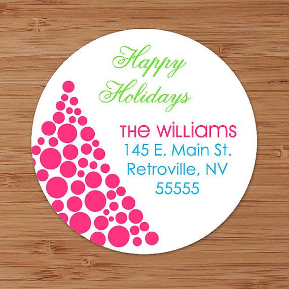 Dotted Christmas Tree Custom Personalized Address Labels or Stickers by PoshGirlBoutique