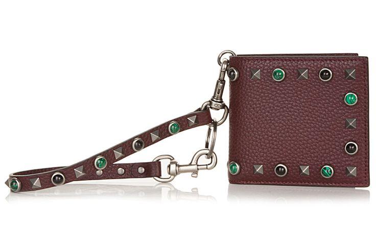 Valentino Garavani's Rockstud Rolling Biker Chain wallet in calfskin leather