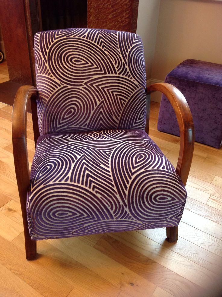 fauteuil des ann es 20 enti rement refait et recouvert d 39 un tissu casadeco fauteuils. Black Bedroom Furniture Sets. Home Design Ideas