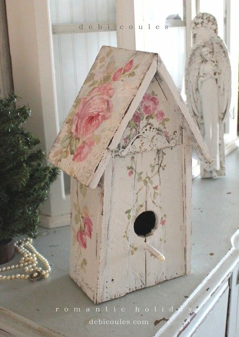 Shabby Chic Vintage Style Roses Birdhouse with Pearl Pearch. Available at www.debicoules.com