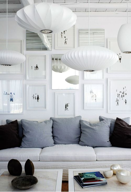 Lamps, Lights, Livingroom, George Nelson, Interiors Design, Living Room, Gallery Wall, White Frames, White Wall