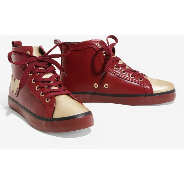 DC Comics Wonder Woman Faux Leather Hi-Top Sneakers ($40) ❤ liked on Polyvore featuring shoes, sneakers, training sneakers, high top trainers, burgundy shoes, high top training shoes and faux leather sneakers