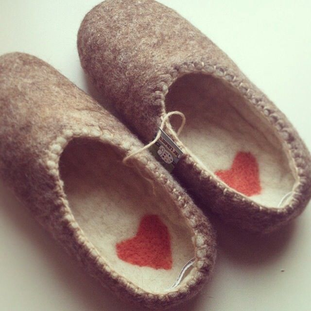 Sheep hearts! Handmade felted slippers by Philosopher's Joke.