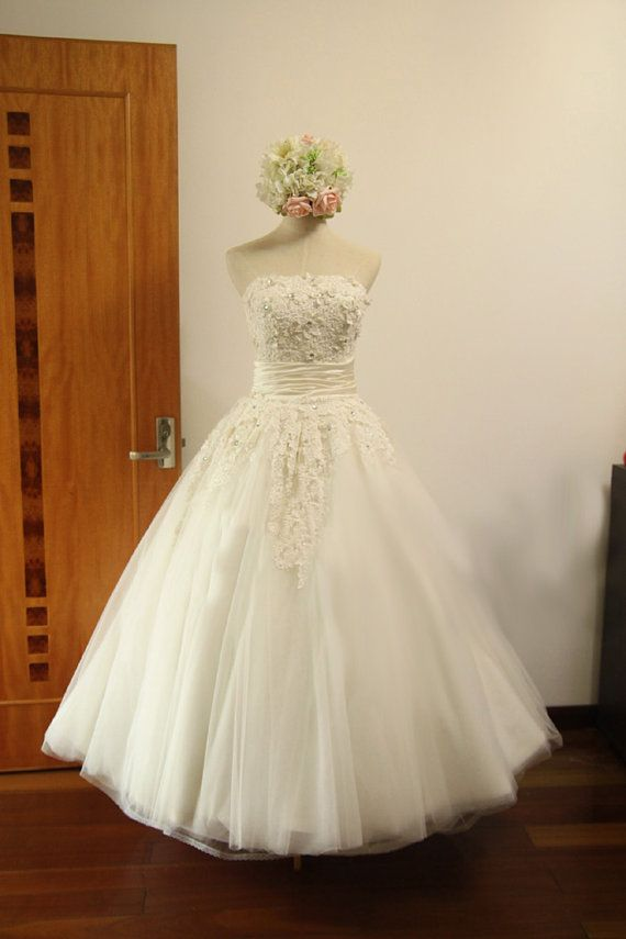 Vintage retro tulle lace flower wedding dress bridal gown for Retro tea length wedding dress