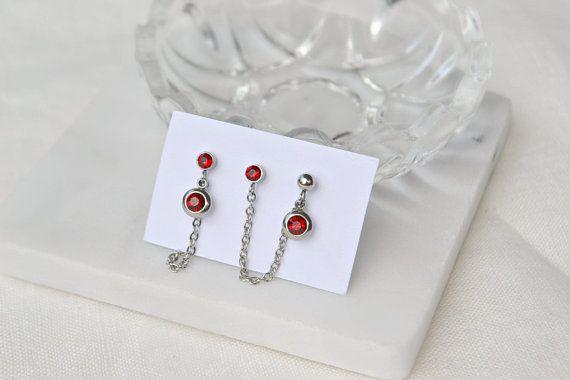 Swarovski crystal Triple studs set Three holes piercing