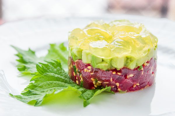 Tuna Tartare with Yuzu Gelée - This tuna tartare is easy to make and makes for an impressive first course for a dinner party. (For Low Carb, sub the bit of sugar