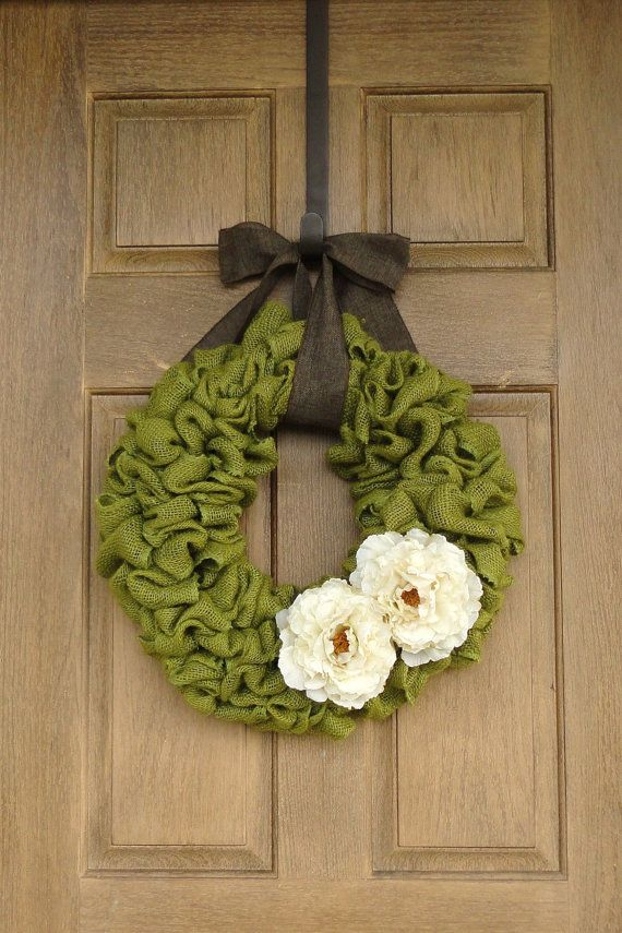 Spring Green Burlap Wreath with Ivory Peony by WhimsyChicDesigns, $60.00