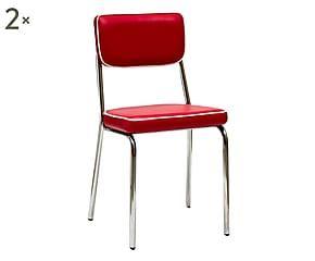 Set di 2 sedie in metallo e scai Aisha rosso - 51x81x41 cm