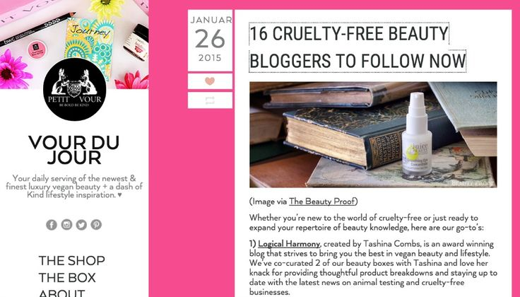 A big huge THANK YOU to the team at Petit Vour! They listed Logical Harmony in their post 16 Cruelty-Free Beauty Bloggers to Follow Now! I am thrilled to have been selected and flattered to be featured among such great…Read more →