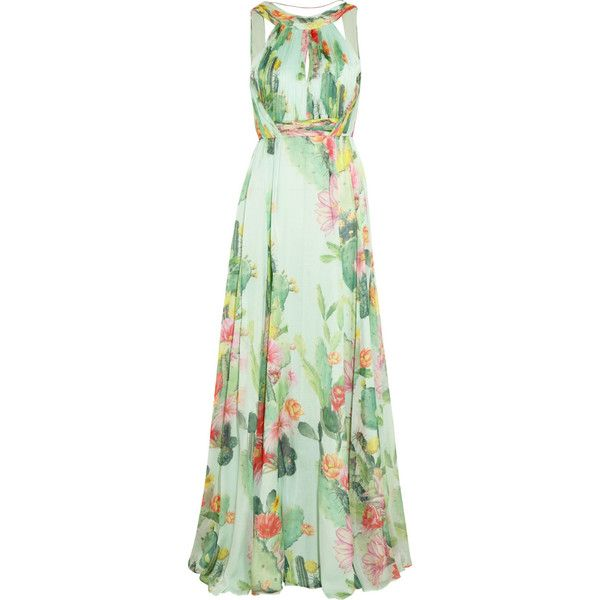Matthew Williamson Cactus Garden printed silk-chiffon gown ($1,090) ❤ liked on Polyvore featuring dresses, gowns, vestidos, maxi dress, long dresses, mint, green dress, long maxi dresses, long fitted dresses and green ball gown