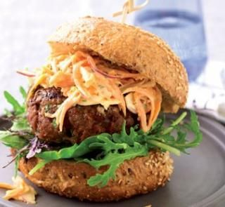 Thai beef burger - red curry paste and onion, carrot. Oct 2010