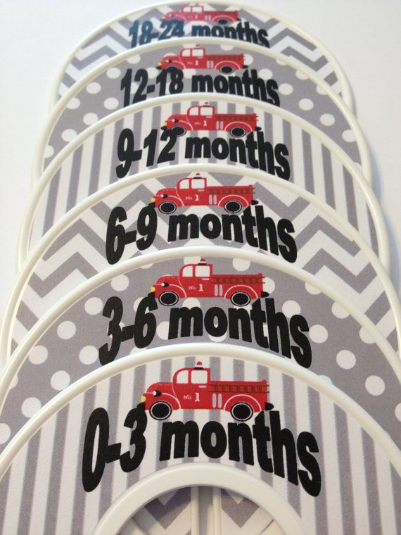 6 Custom Baby Closet Dividers - Red Firetrucks with Grey Chevrons Firefighter Fireman Nursery Baby Shower Gift