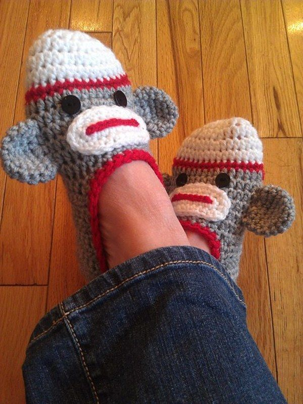 Sock monkey slippers.  Could use any slipper pattern and adapt it to make these!