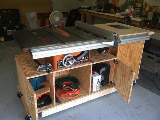 Table saw cart | Workshop Ideas | Pinterest | Woodworking and Wood working