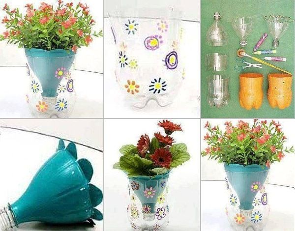 DIY Flower Pot Made From Plastic Bottles -GoodsHomeDesign - Cute kid crafts (once an adult cuts/preps the bottles), let them paint/decorate and plant their own small plants to care for, give as gift for small kids get together to take home.
