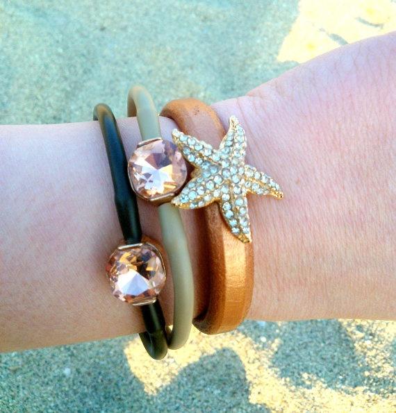 Leather brown rhinestone starfish bracelet by NNbraceletsandmore, €12.00