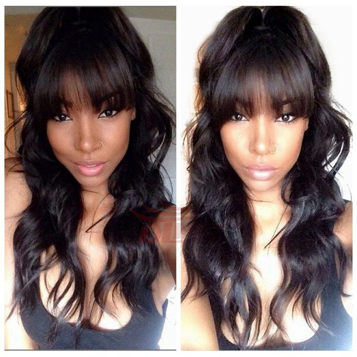 Hotselling #1 jet back human remy hair wigs virgin brazilian glueless full lace wig with full bangs for black women body wave