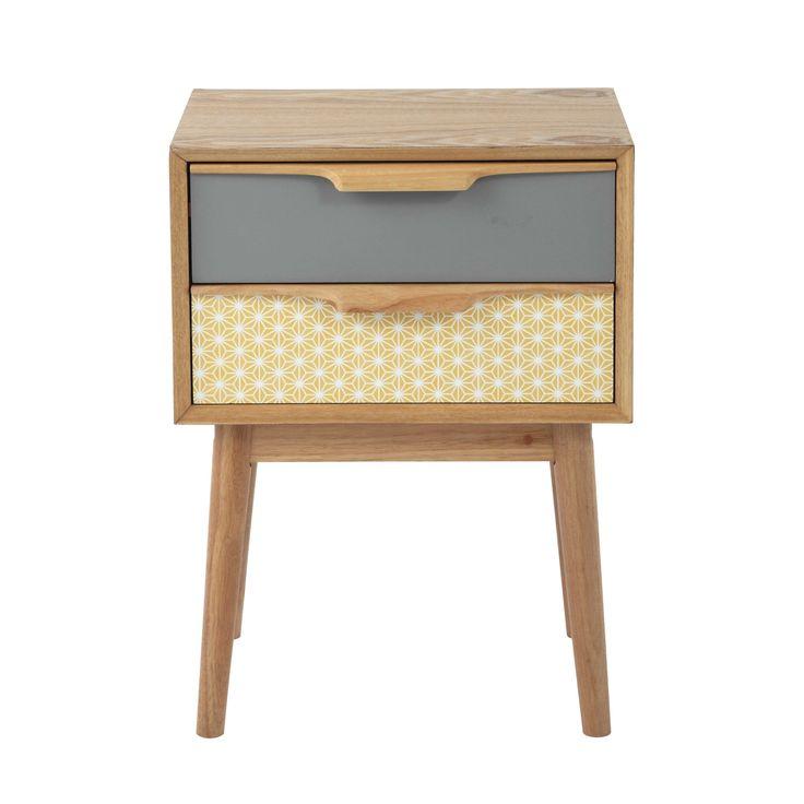 Table de chevet vintage avec tiroirs en bois L 42 cm Fjord