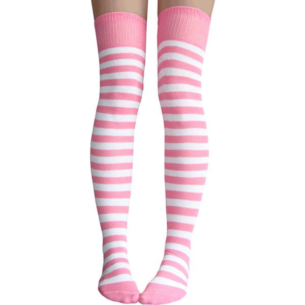 Pink White Striped Thigh Highs ❤ liked on Polyvore featuring intimates, hosiery, socks, thigh high socks, above the knee socks, striped thigh high socks, striped over the knee socks and white hosiery