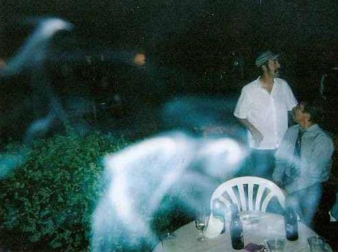 Above:  Swirling ectoplasm mist has many vapor trails.  Doesn't it seem that in the center of the photograph the vapor looks to be in human form and shape?