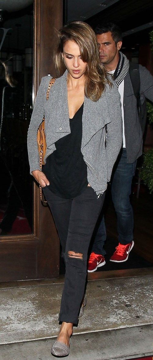 Jessica Alba street style in Current Elliot Shredded Stiletto black jeans and flats