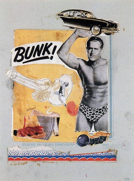 This started pop art. Eduardo Paolozzi,  BUNK! 1950.  http://en.wikipedia.org/wiki/Independent_Group