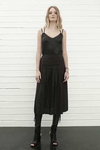 konsanszky_collection SS16_DION black silk top_EMBLA georgette skirt