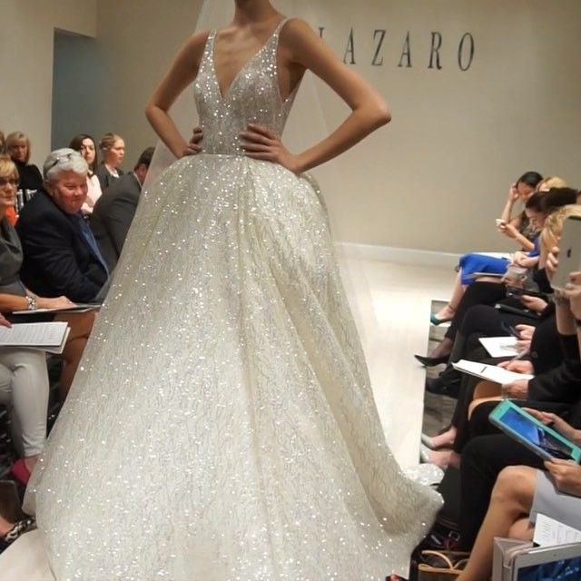 Fall 2016 shimmery Lazaro princess gown