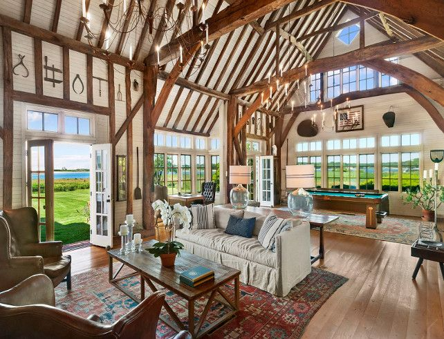Classic Hamptons Beach House with re-assembled oak barn imported from England.  Parts are 250 yrs old!