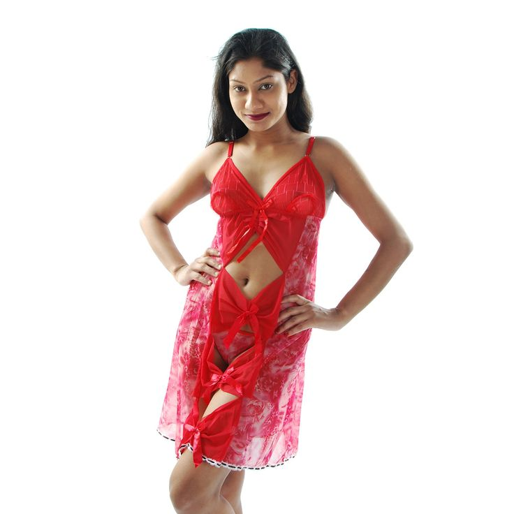 Designer Imported Net Fabric used Babydoll, Red Color graphic printed, Front Bust open Design, Thong panty with this nightwear for make you men naughty on bed. Bust size 30