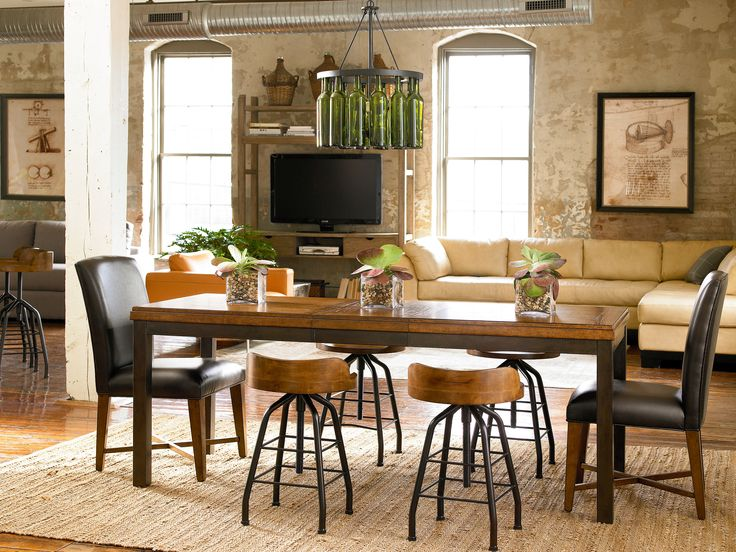 Great Rooms Collection  Industrial Dining Table, Parsonu0027s Chair, Potteru0027s  Stood, And The Entertainer | Great Rooms | Pinterest | Industrial Dining,  ...