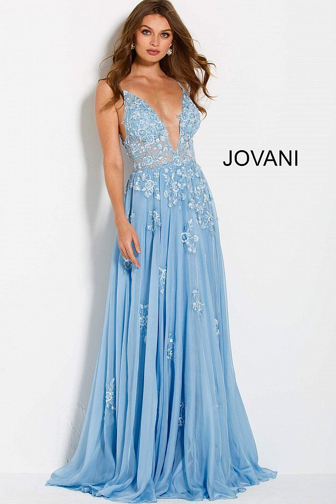 bd9d7c5320bd Floor length flowy light blue chiffon floral embroidered prom dress  features sleeveless sheer bodice with plunging neckline, V back and  spaghetti straps.