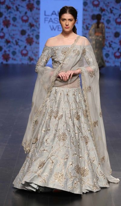 champagne grey lehenga, off shoulder blouse, gold zardosi floral embroidery, grey net dupatta