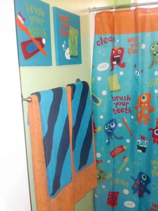 Photo On LITTLE KIDS DESIGNER Shower Curtain Monster Bathroom Bathroom Designs Decorating Ideas HGTV
