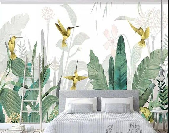 Southeast Asia Tropical Plants Wallpaper Flying Birds And Tropical Banan Leaves Wall Murals Wall Decor For Living Or Dinning Room Plant Wallpaper Tropical Home Decor Tropical Decor