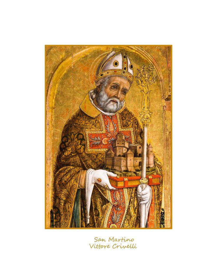 San Martino opera di Vittore Crivelli. Parte del politico che anch'esso si trova nella chiesa di San Martino a Monte San Martino in provincia di Macerata