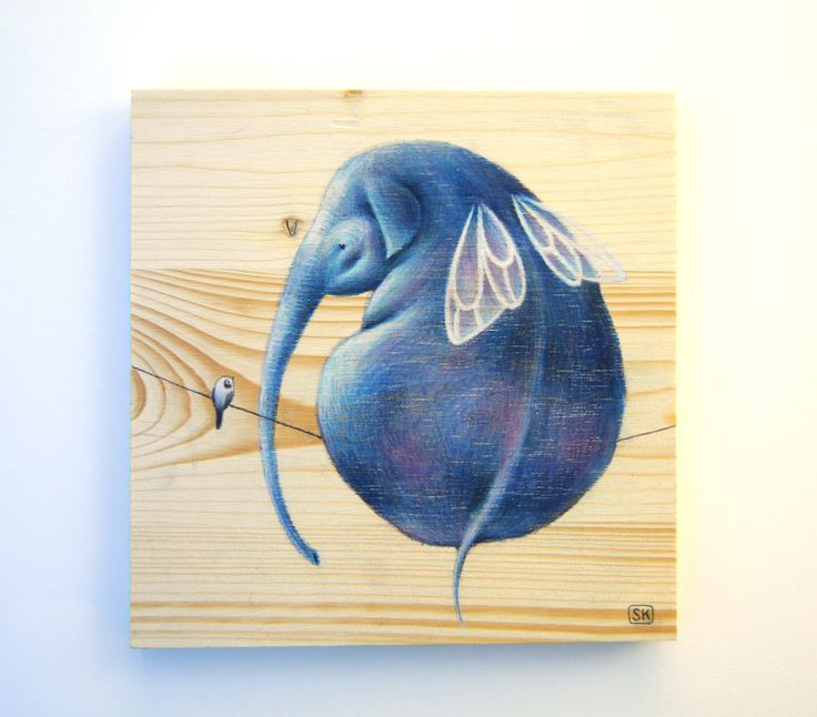 ELEPHANT wall art, ORIGINAL painting on WOOD. Flying elephant illustration. Unique gift, cute. Nursery decor, Baby shower gift,Children room by Ciacio on Etsy