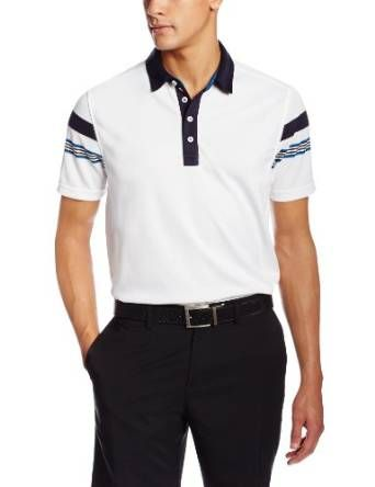Offering UV protection from the sun this mens short sleeve colorblock with engineered stripe golf polo shirt by Izod also features moisture wicking technology