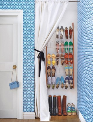 Nevermind that this is very small and not so cute.  I like the idea of a cute(r)curtain over your shoe shelves to keep dust away from them.