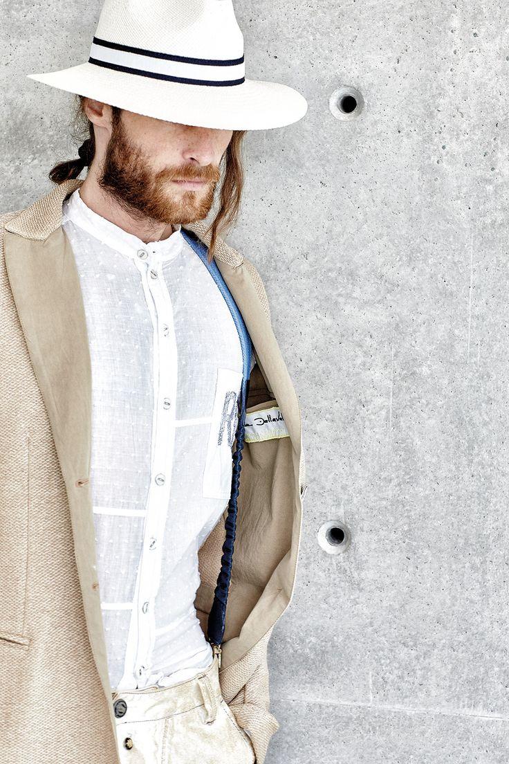 #danieladallavalle #mancollection #riccardocavaletti #ss16 #jacket #sand #beige #white #shirt #pants #jeans #brown #white #hat #braces #details